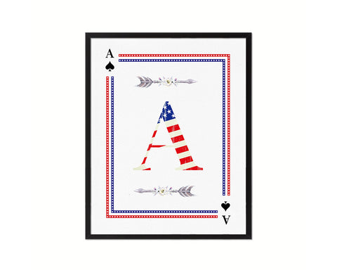 Letter A Custom Monogram Card Decks Spade American Flag Framed Print Wall Art Decor Gifts