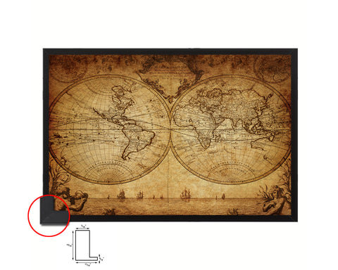 World Johann Matthias Hase 1733 Historical Map Framed Print Art Wall Decor Gifts