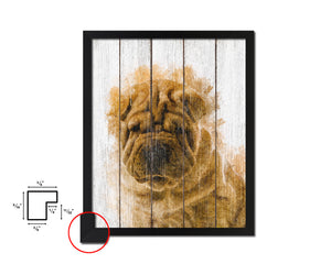 Sharpei Dog Puppy Portrait Framed Print Pet Home Decor Custom Watercolor Wall Art Gifts