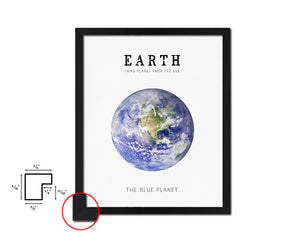 Earth Planet Prints Watercolor Solar System Framed Print Home Decor Wall Art Gifts