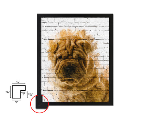 Sharpei Dog Puppy Portrait Framed Print Pet Watercolor Wall Decor Art Gifts