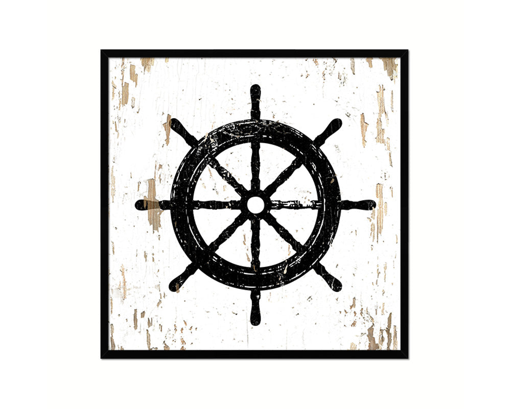 Wheel Nautical Wood Framed Gifts Ocean Beach Fishing Home Decor Wall Art Prints