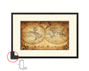 World Johann Matthias Hase 1733 Old Map Framed Print Art Wall Decor Gifts