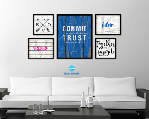 Commit your way to the Lord Quote Framed Print Home Decor Wall Art Gifts