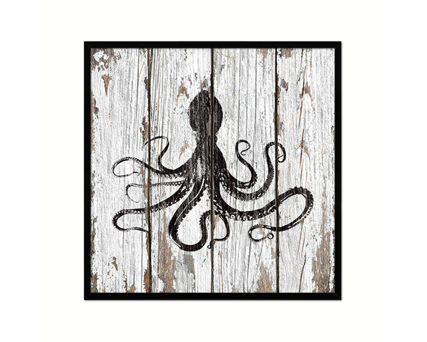 Octopus Nautical Wood Framed Gifts Ocean Beach Fishing Home Decor Wall Art Prints