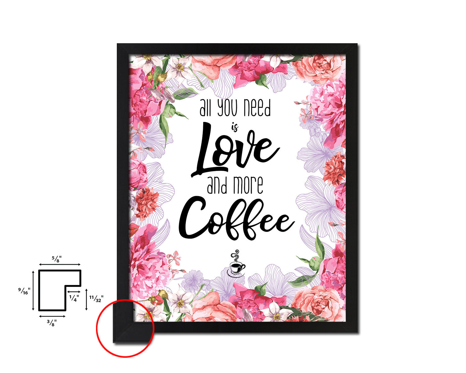 All you need is love and more coffee Quote Framed Artwork Print Wall Decor Art Gifts