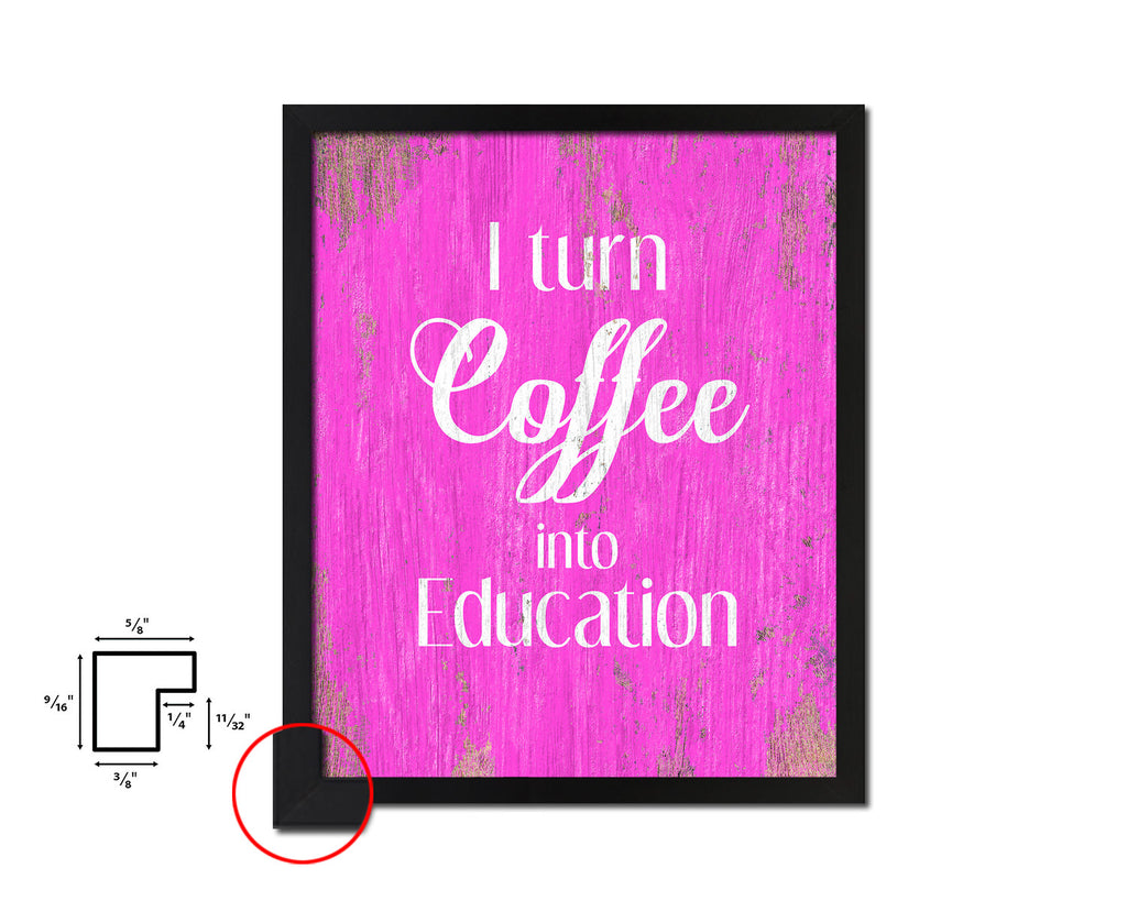 I Turn Coffee Into Education Color Quote Sayings Framed Wall Art