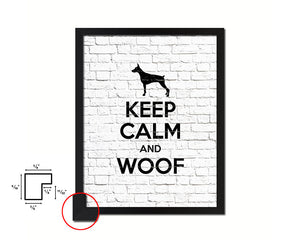 Keep calm and woof Quote Framed Print Home Decor Wall Art Gifts