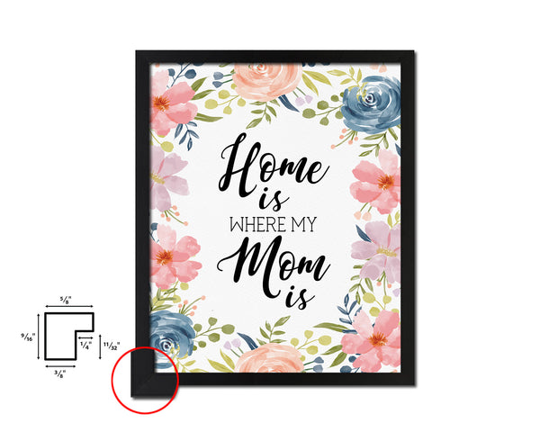 Home is where my mom is Mother's Day Framed Print Home Decor Wall Art Gifts