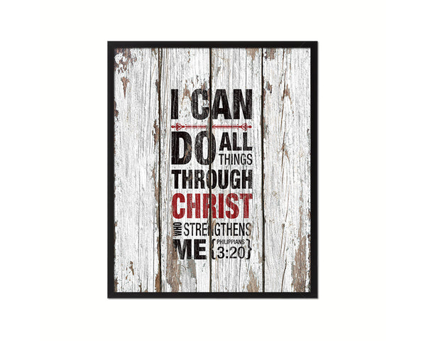 I can do all things through Christ who strengthens me, Philippians 3:20 Quote Framed Print Wall Art