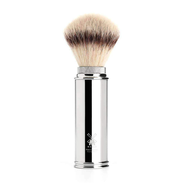 Muhle TRAVEL SHAVING BRUSH SILVERTIP FIBRE® - HANDLE CHROME PLATED Man Of Siam Thailand