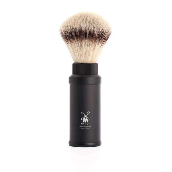 Travel shaving brush by MUHLE Silvertip Fibre® handle material Black aluminum Man Of Siam Thailand