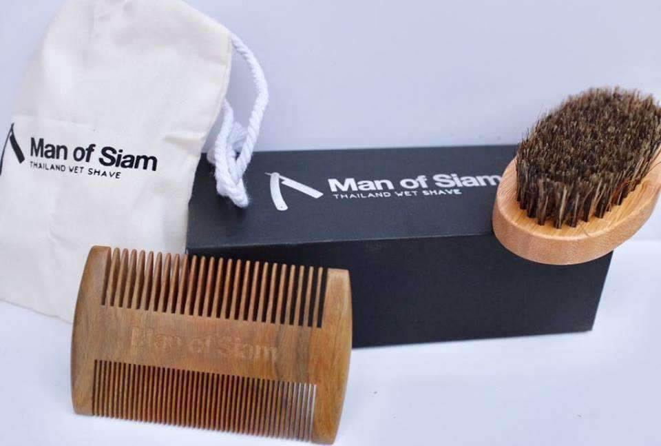 beard brush and comb set man of siam wet shave co thailand