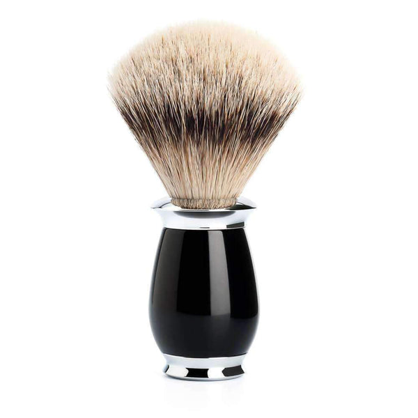 SHAVING BRUSH BY MÜHLE SILVERTIP BADGER Black Resin Handle Man Of Siam Thailand