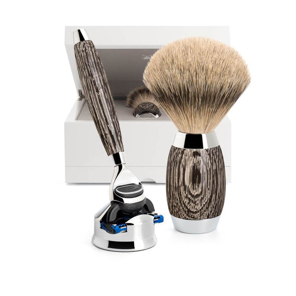 SHAVING SET BY MÜHLE ANCIENT OAK WITH STERLING SILVER man of siam wet shave