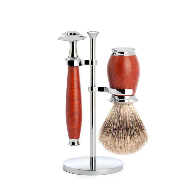 SHAVING SET BY MÜHLE BRIARWOOD With Fine Badger Shaving Brush Man Of Siam Thailand