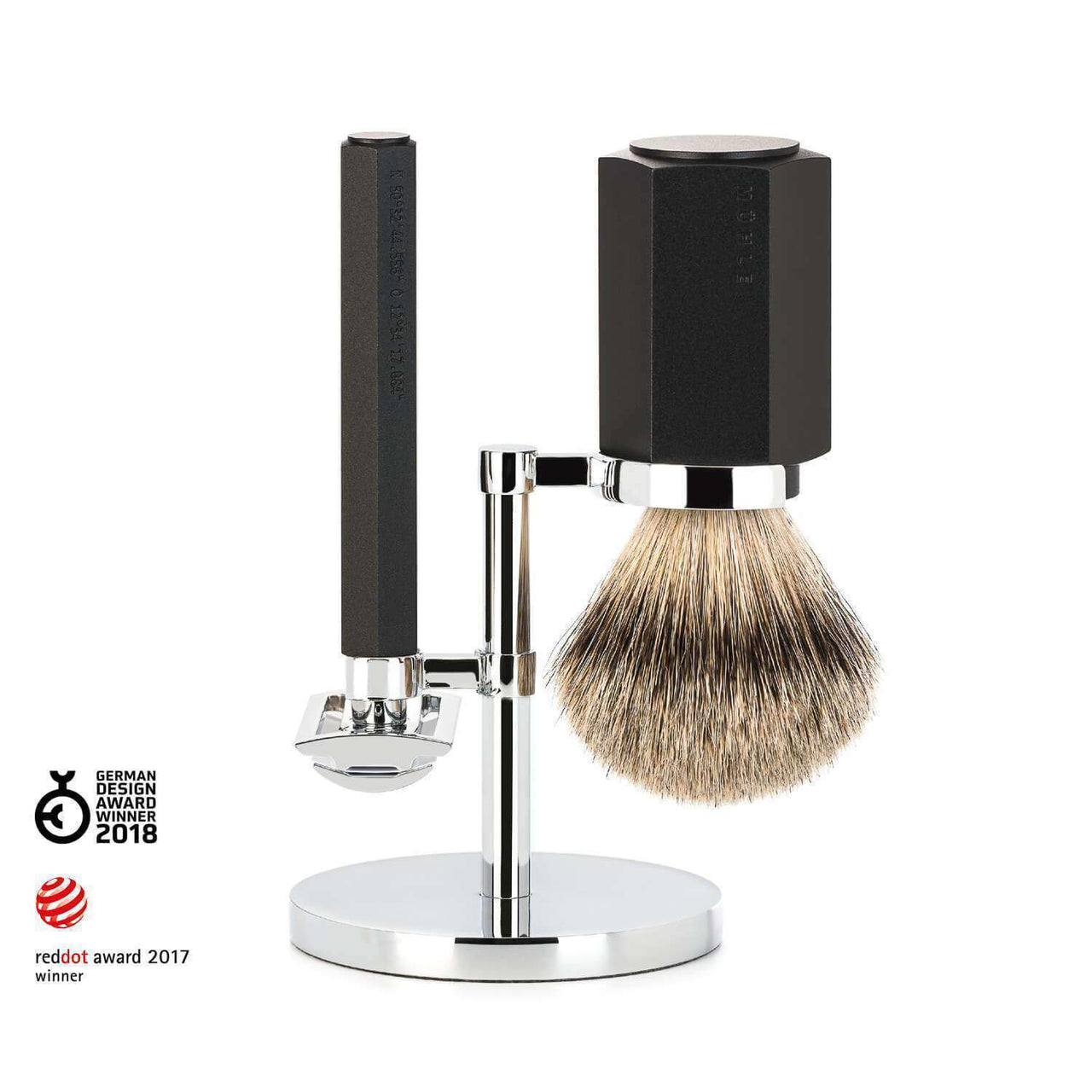 SHAVING SET BY MÜHLE  HEXAGON SHAVING SET ANODISED ALUMINIUM Graphite Man Of Siam Thailand