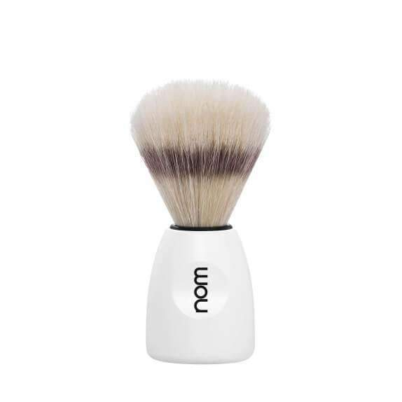 SHAVING BRUSH BY MÜHLE BOAR BRISTLE WHITE PLASTIC HANDLE Man Of Siam wet shave Thailand