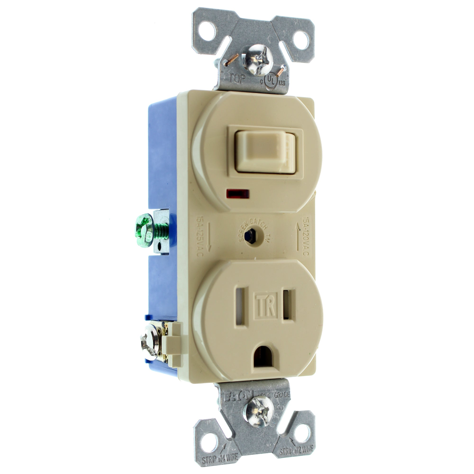 Hubbell Rc108itrz Combo Toggle Switch Receptacle Tr Outlet 15a Wiring 120v Ivory