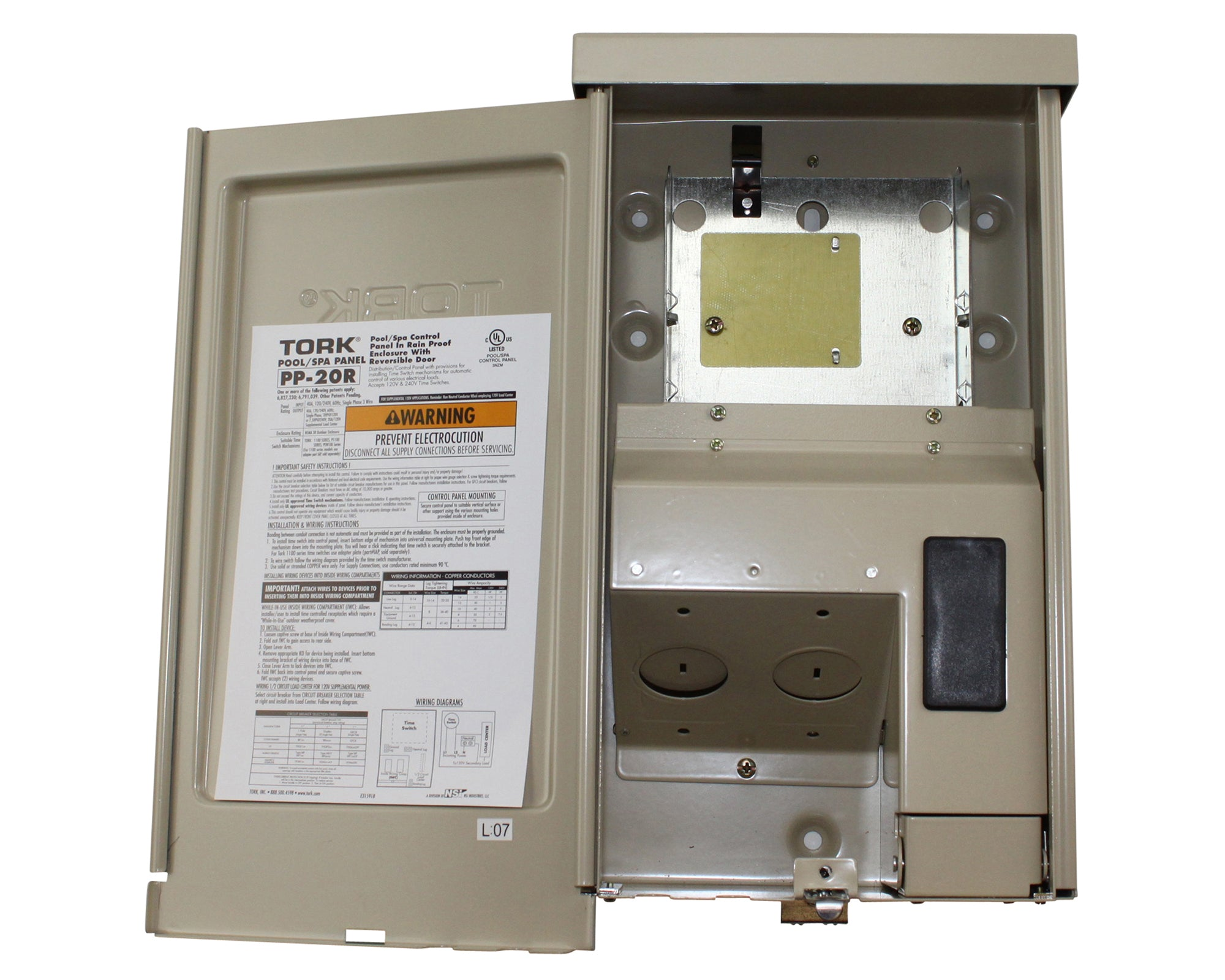 TORK NSI TIMER POWER PANEL FOR POOL SPA LIGHTING W// FREEZE PROTECT PP-20R-P4