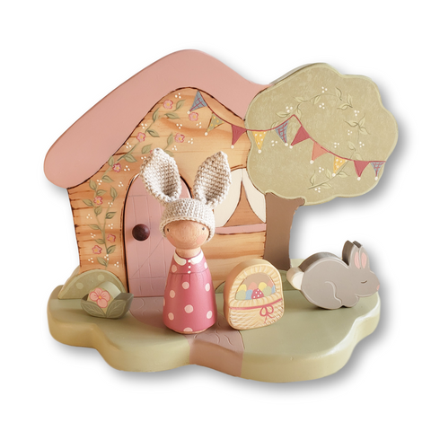 Miss Molly & her Easter Cottage Playscape - Large Hand Turned Peggy - Miss Molly's Toys