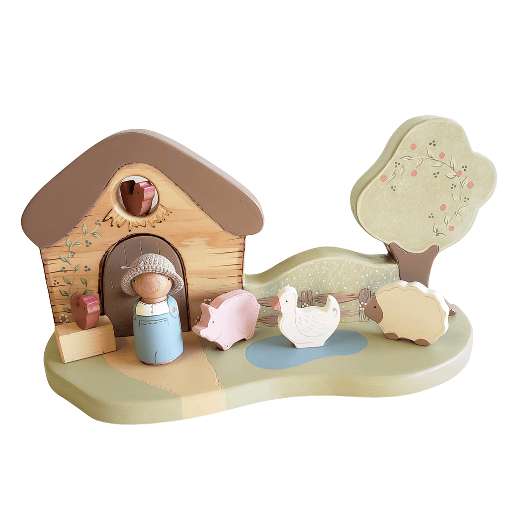 Milo & his Farm - Peg Doll Play Set - Miss Molly's Toys wooden toys Australia
