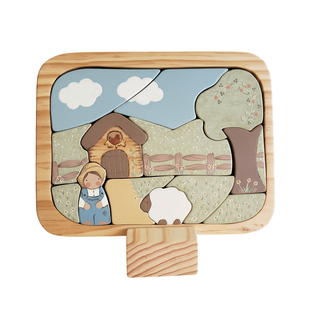 Milo & his Farm - Peg Doll Puzzle - Miss Molly's Toys wooden toys Australia