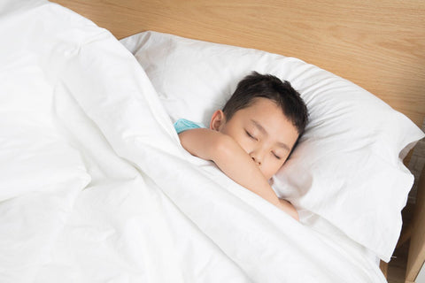 Child sleeping in mattress with Luxury Hotel Sheet