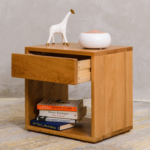 The Solid Wood Bedside Table - Oak