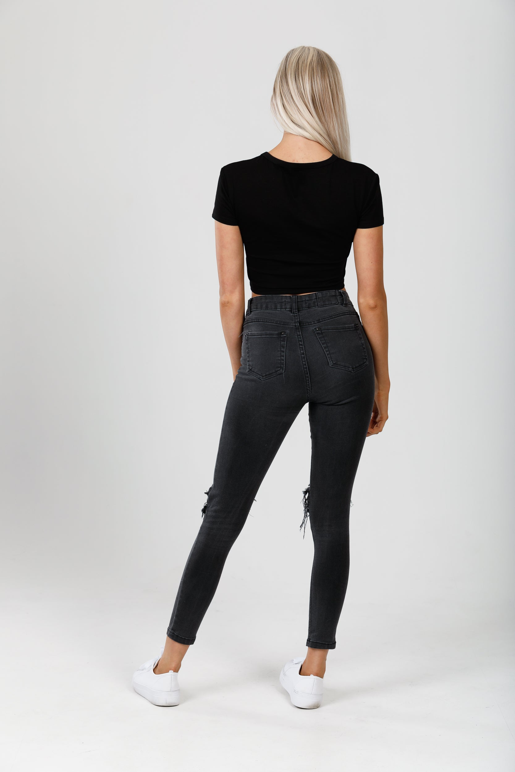 Midnight Black Crop Tee