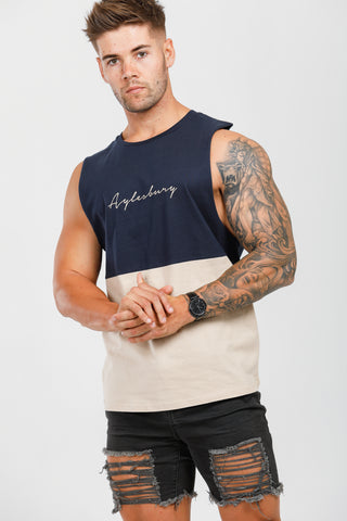 Navy Blue & Cream Muscle Tank