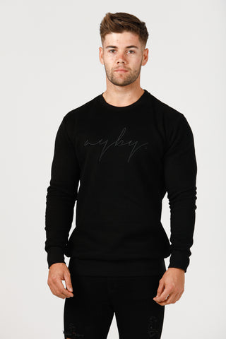 Slim Fit Signature Crew Neck - Black