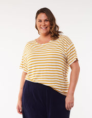 Elm Collette Stripe Tee - Mustard