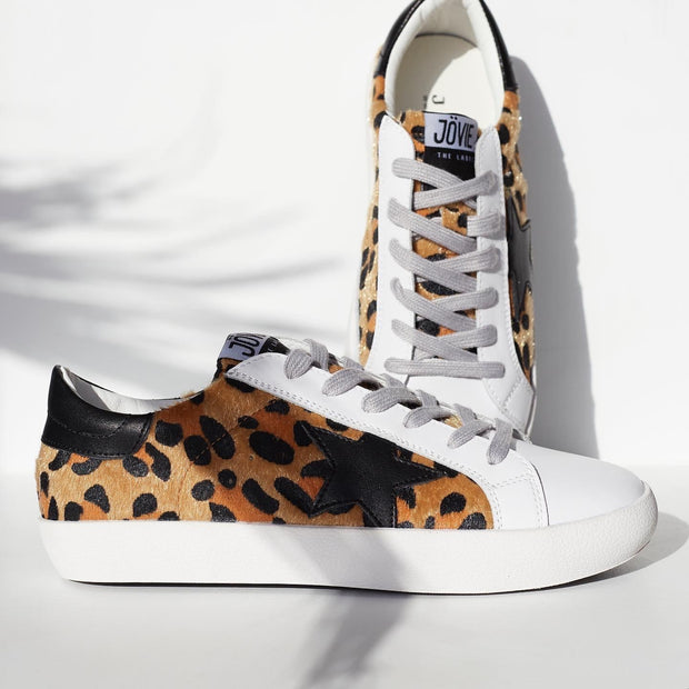 KOBI Leather Sneaker - Leopard/Black Star