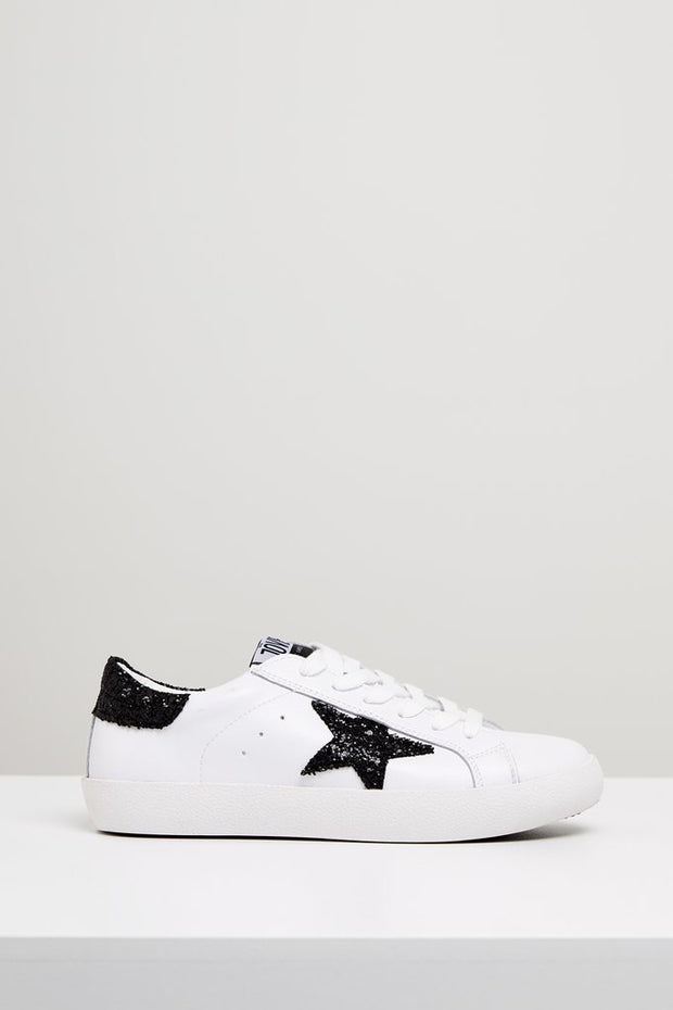 KOBI Leather Sneaker - White/ Black Glitter Star