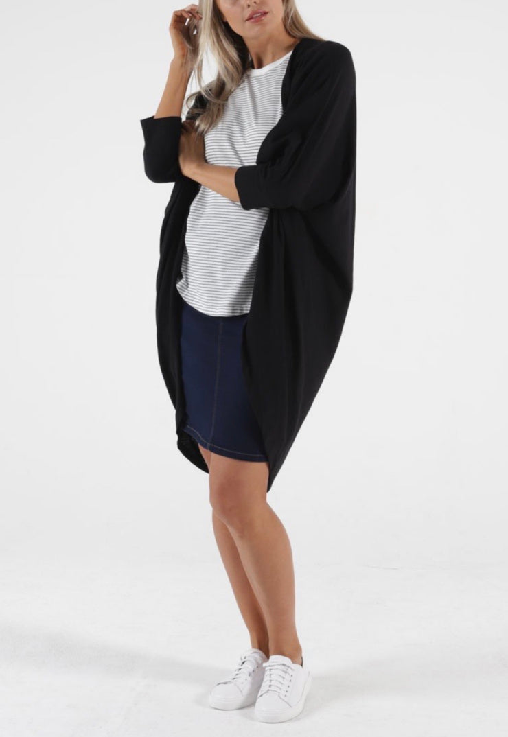 Black Santorini Drape Cardi - Betty Basics