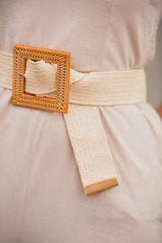 Square Rattan Buckle Belt