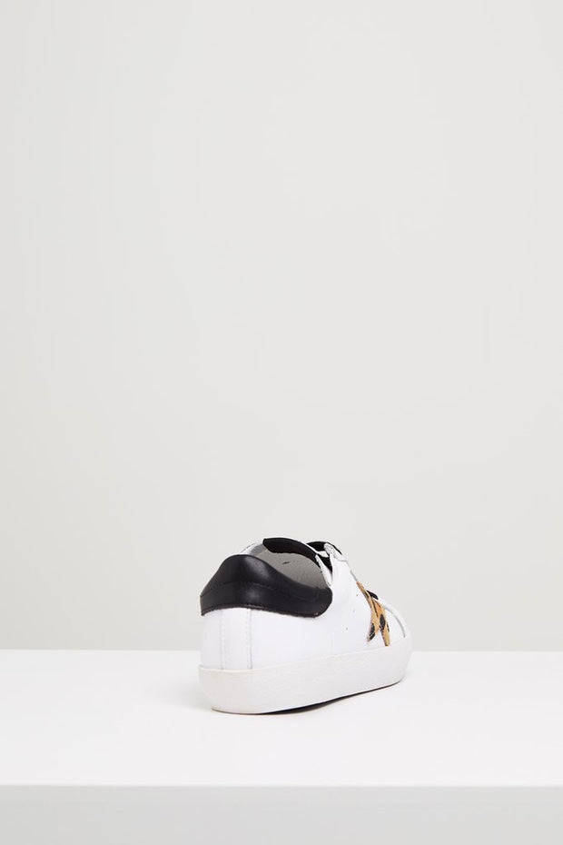 KOBI Leather Sneaker - White/ Leopard Star