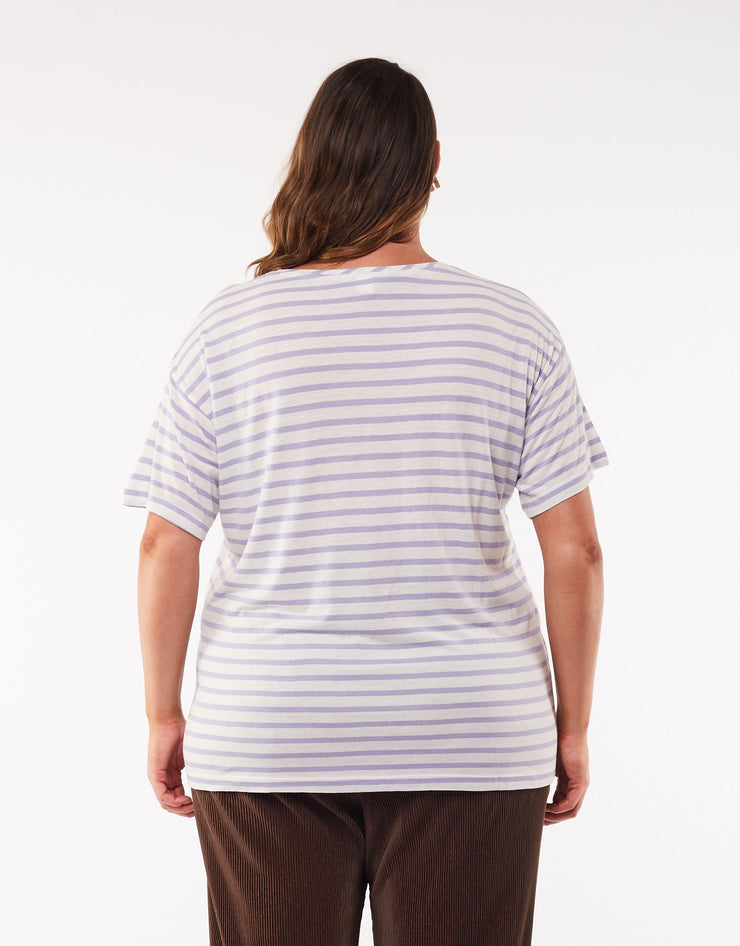 Elm Collette Stripe Tee - Purple