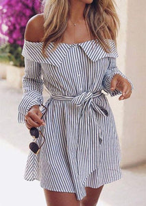 MARY off shoulder cute striped dress