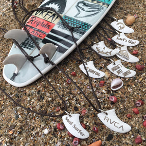 Surfboard Skeg and Shark Teeth Necklaces