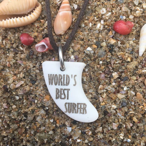 World's Best Surfer Miniature Surfboard Fin Necklace