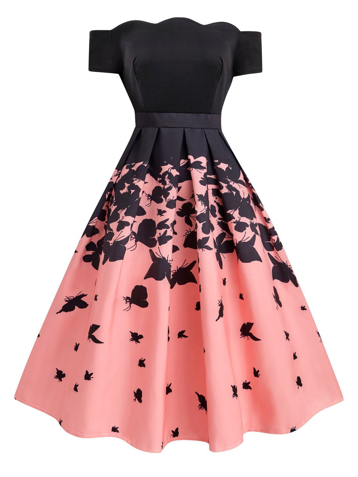 686bb15cb1f Black 1950s Butterfly Swing Dress – Retro Stage - Chic Vintage ...