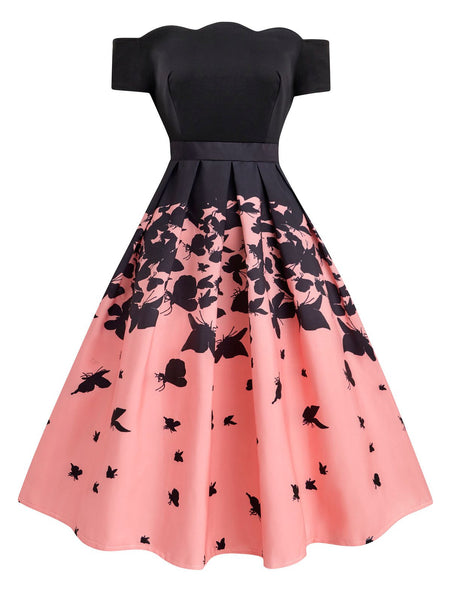 Black 1950s Butterfly Swing Dress Retro Stage Chic