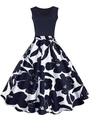 Black 1950s Floral Plus Size Swing Dress