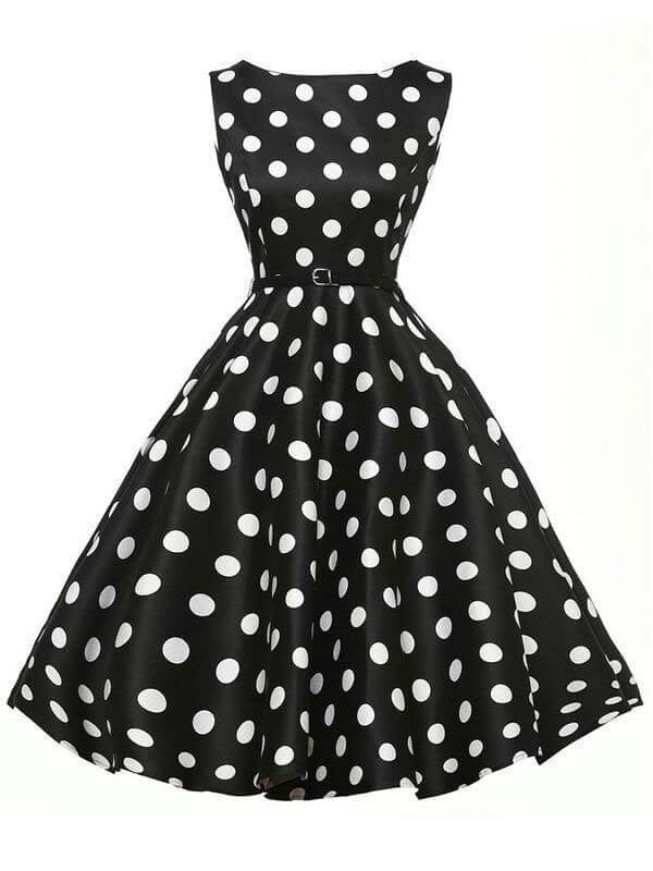 2a319f18c2b Black 1950s Polka Dot Belted Dress