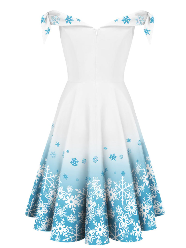 White 1950s Off Shoulder Snowflake Dress