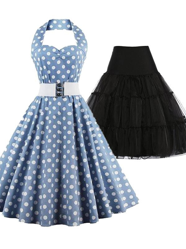 2PCS Blue Polka Dot Halter Dress & Black Petticoat