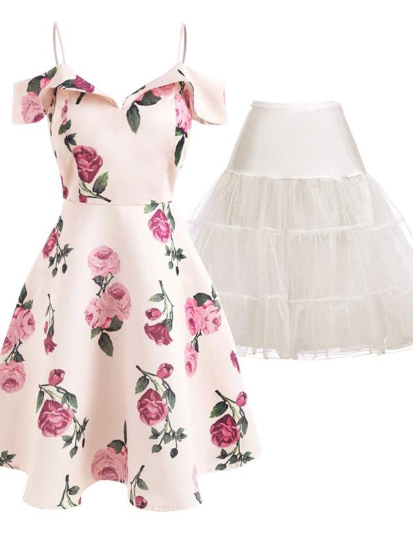 2PCS Floral 1950s Dress & White Petticoat