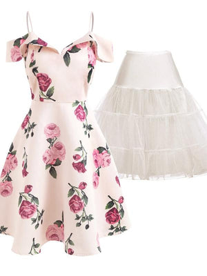 2PCS Top Seller Pink 1950s Floral Dress & White Petticoat